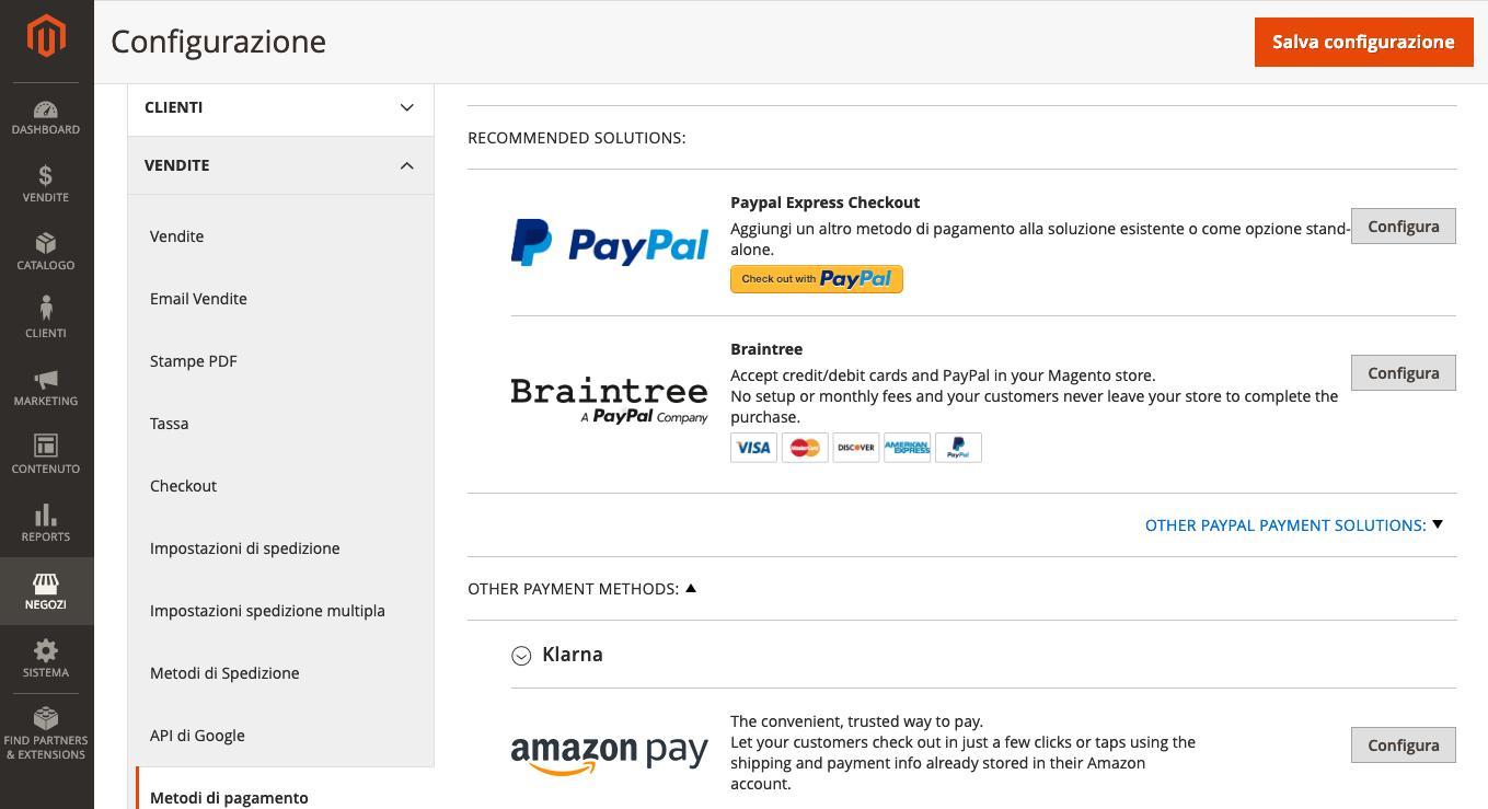 Configurazione dei pagamenti in Magento 2