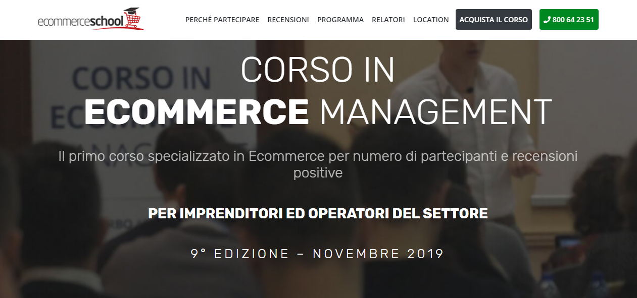 Corso in E-Commerce Management: Bologna 14-15-16 Novembre 2019